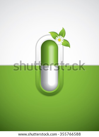 Green alternative medication concept - Homeopathy brochure - stock photo