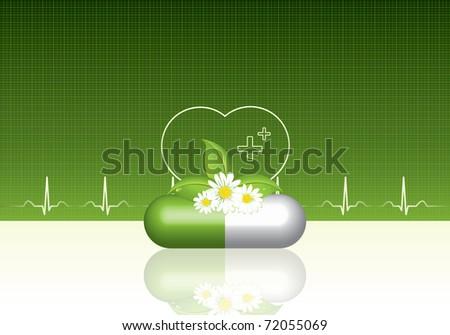 Green alternative medication concept - Natural herbal pill - stock photo