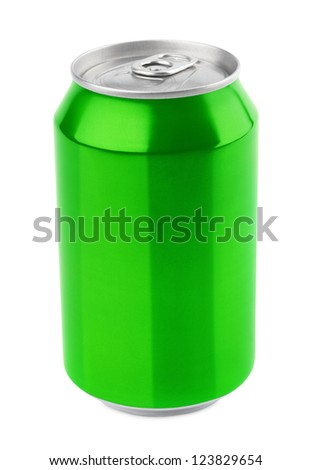 Green aluminum can 330 ml isolated on white with clipping path - stock photo