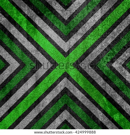 Green and black abstract old background texture with X pattern. - stock photo