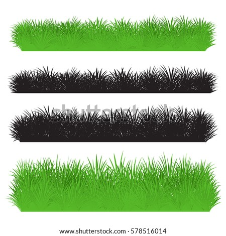 Green and black grass borders set. Set of silhouette of grass isolated on white background