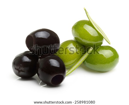 Green and black olives with leaves isolated on white - stock photo