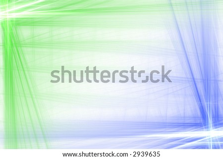 Green and blue abstract flash frame background over white with copyspace - stock photo