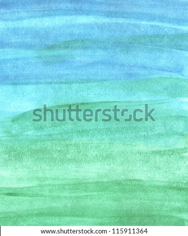 Green and blue abstract hand painted watercolor background - stock photo