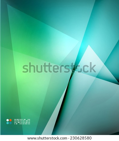Green and blue blurred design template, abstract background with lights and lines - stock photo