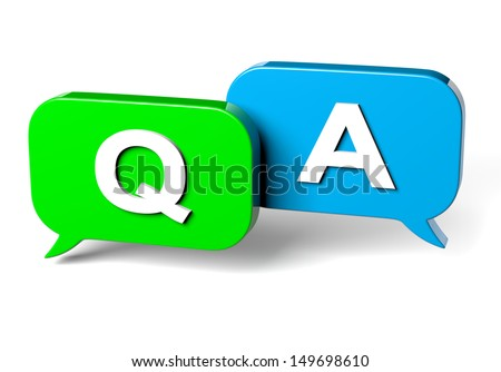 Green and Blue Bubble Speech on White Background Question and Answer Concept 3D Illustration - stock photo
