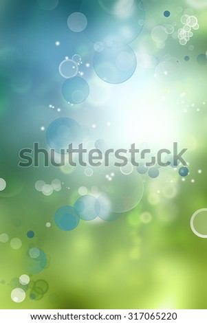 Green and blue circles abstract background. Advertising copy space - stock photo