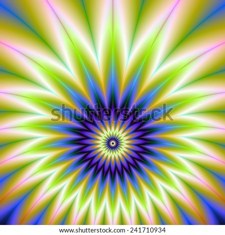 Green and Blue Floral Explosion / An abstract fractal image with a flower firework explosion design in blue, green, violet, white and peach. - stock photo