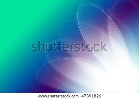 Green and blue Gradient silk wave and circle background