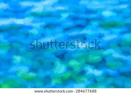 green and blue impasto painture  - illustration based on own photo image - stock photo