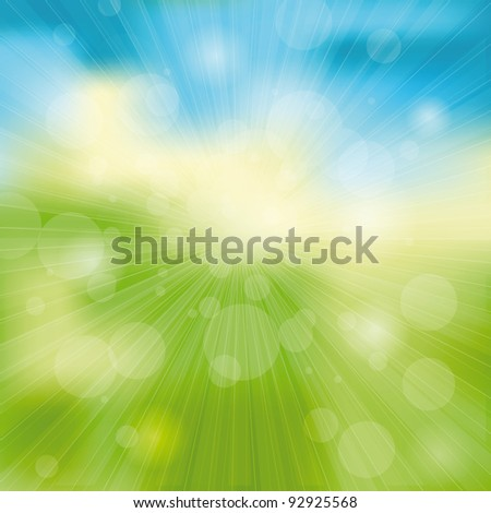 Green and blue light abstract background - stock photo