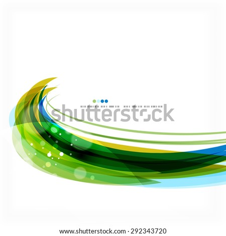 Green and blue light air lines. Modern background design - stock photo