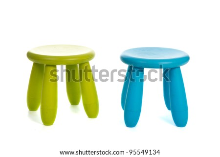 Green and blue little stools