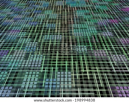 Green and blue network concept as abstract background.Digitally generated image. - stock photo