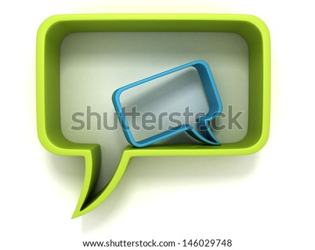 green and blue speech dialogue bubbles on white - stock photo