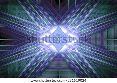 Green and blue speed blur star - stock photo
