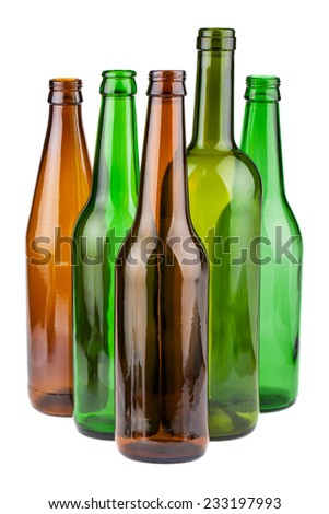 Green and brown empty bottles without labels isolated on white background