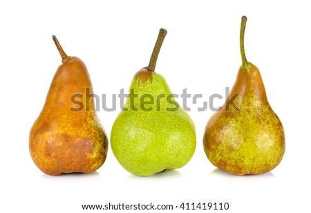 green and brown pear isolated on a white background.