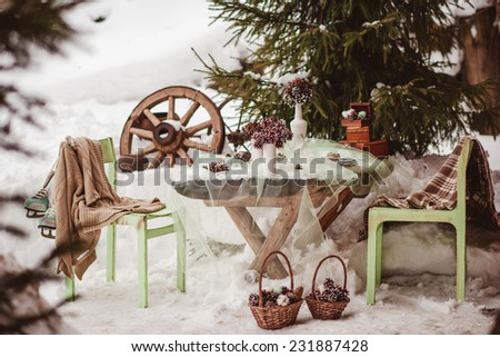 green and brown winter wedding decor details - stock photo