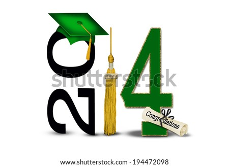 green and gold 2014 graduation with cap,diploma and tassel isolated on white background - stock photo