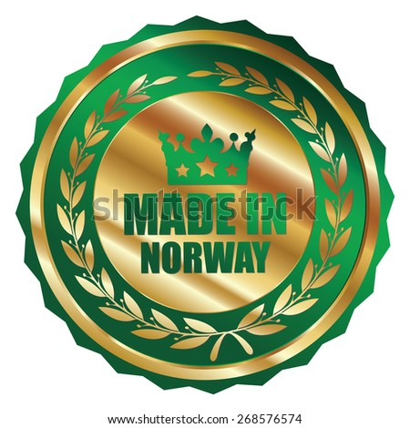 Green and Gold Metallic Made in Norway Badge, Label, Sticker, Banner, Sign or Icon Isolated on White Background - stock photo