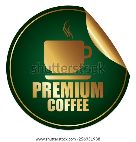 Green and Gold Metallic Premium Coffee Sticker, Icon or Label Isolated on White Background  - stock photo