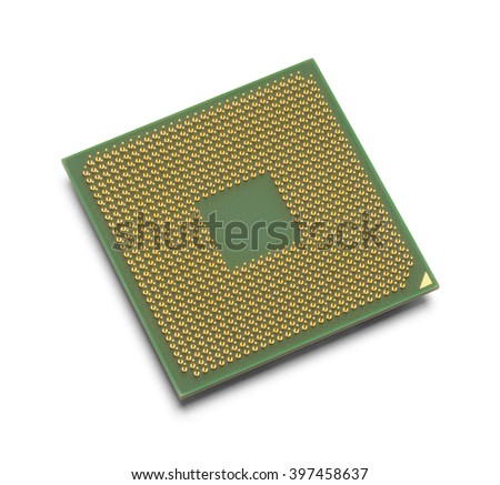 Green and Gold Microprocessor with Copy Space Isolated on White Background.