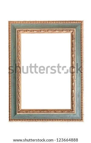 green and golden picture frame isolated on white background - stock photo