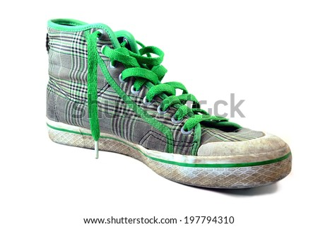 green and gray color dirty shoe - stock photo