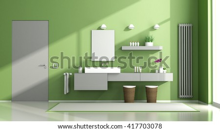 Green and gray contemporary bathroom with washbasin and closed door - 3d rendering - stock photo