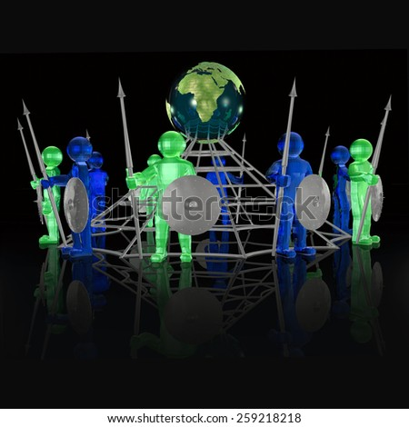 Green and grey armed mans with globe on black background. - stock photo