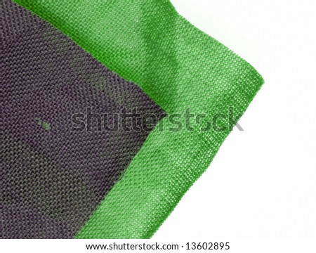 Green and grey hessian cloth on white background