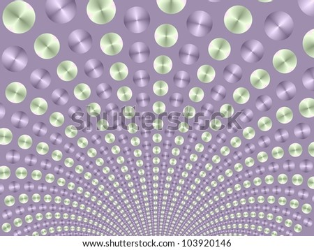 Green and lilac Fountain/Digital abstract image with a purple and green ball fountain on a lilac background.