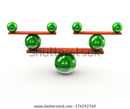 Green and orange balance concept - stock photo
