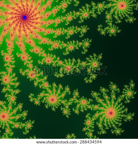 Green and orange fractal ornaments in dark green background. Computer generated fractal graphics.  - stock photo