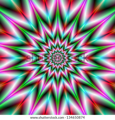 Green and Pink Star / Digital abstract fractal image with a star shaped design in pink and green.