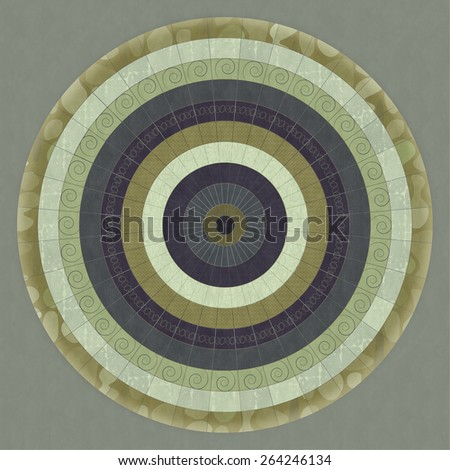 Green and purple illustrated circular pattern with subtle texture. - stock photo