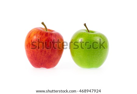 Green and red apple, isolated on a white background