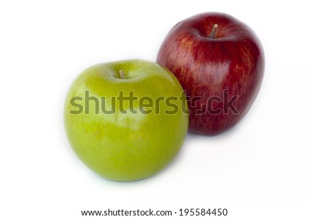 Green and red apple, isolated on white background