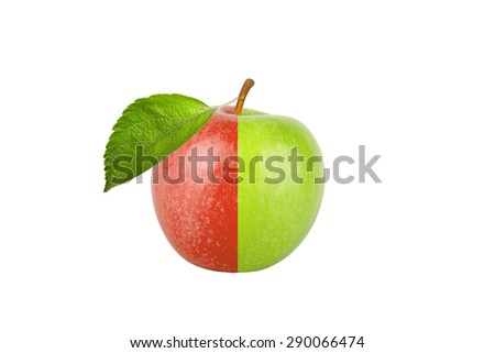 Green and red apple with leaf isolated on white background.