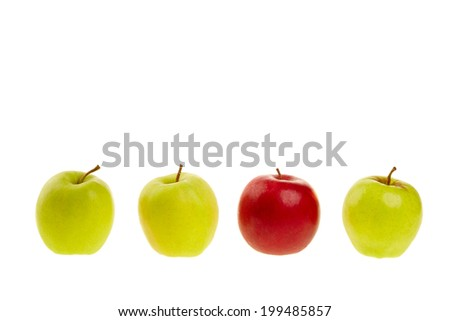 Green and red apples isolated on a white