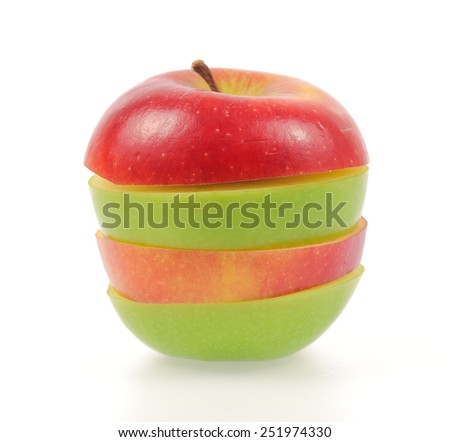 green and red apples isolated on white background