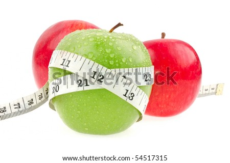 Green and red apples measured the meter
