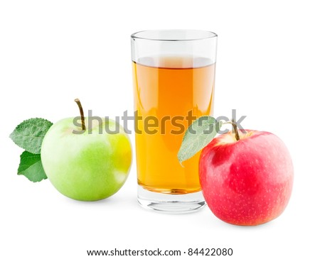 Green and red apples with leaf and juice on white background