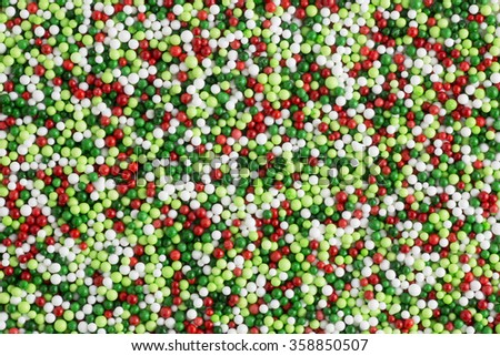 Green and red candy sprinkle decorations