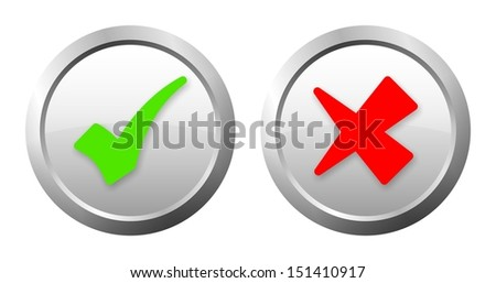 green and red check mark button with light shadow