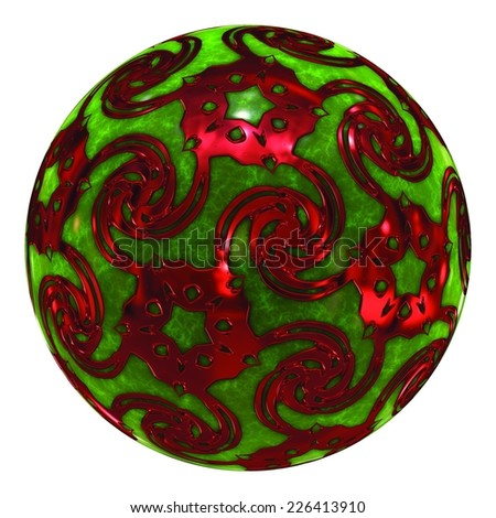 Green and Red Crystal Ball / Ornament - stock photo