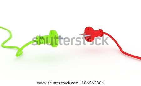 Green and red electric plug isolated on white background, 3D images - stock photo
