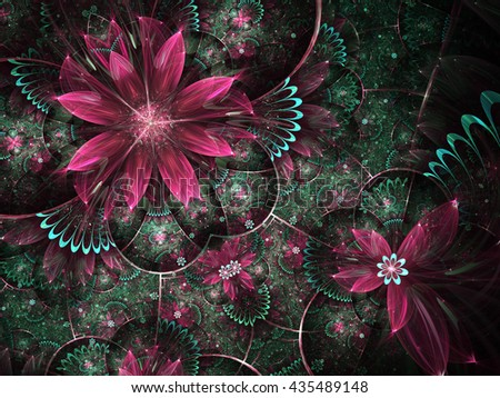 Green and red fractal flowers, digital artwork for creative graphic design
