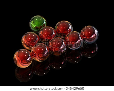 Green and Red metal ball - stock photo